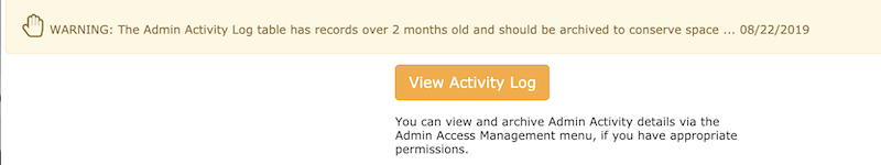Zen Cart Admin Activity Log button