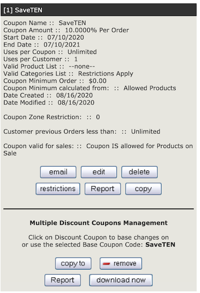 Coupon Admin Zen Cart Documentation